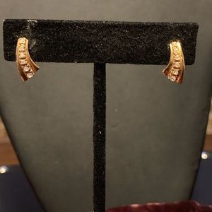 Clear rhinestone in gold tone earrings. 2/$10 Sale